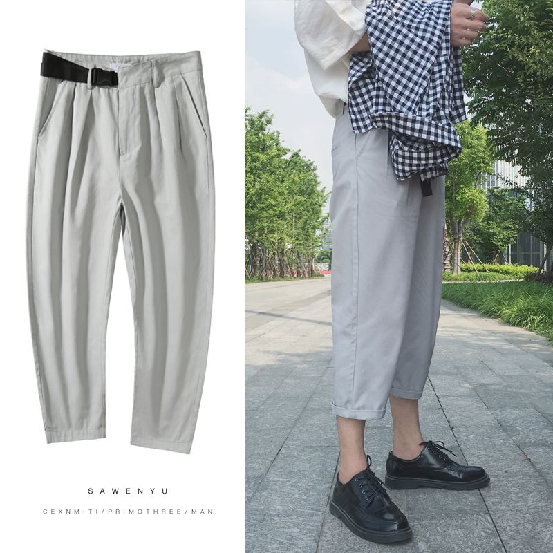 Hang Bring Design Summer Seven Part Pants Leisure Time Male 100% Cotton personality city boy casual letter Favourite Flash sale