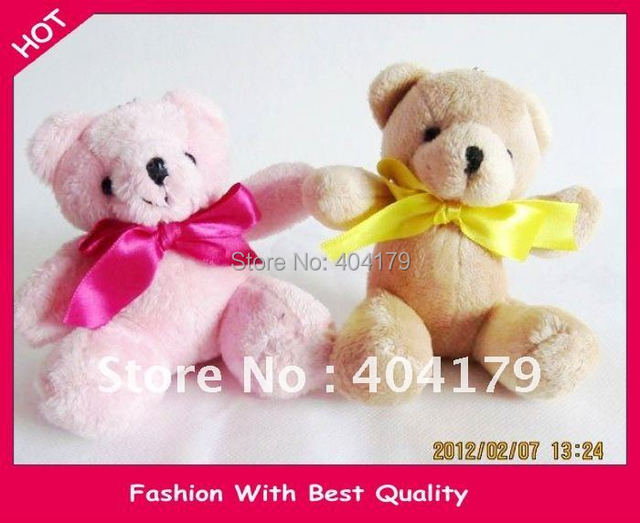 New hot sell plush toys doll Teddy bear with ribbon bow for birthday gift high quality 11cm coffe and pink assorted 12pcs/lot