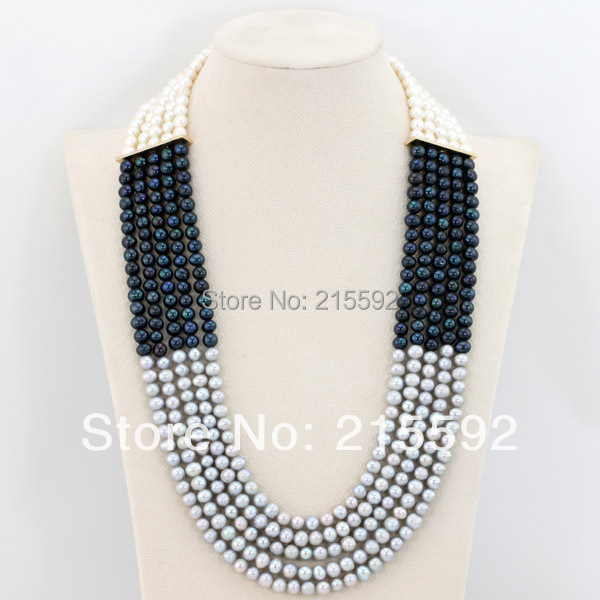 Wonderful 5 Rows Wedding Bridal Necklace Jewelry White&Black&Grey Freshwater Pearl Beads Jewelry 2015 New Free Shipping FP053 free shipping hot sale jewelry 3 rows oval white black pearl necklace