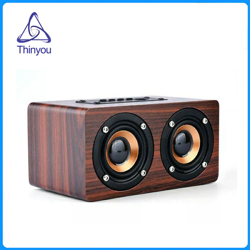 Thinyou Newest 3W*2 Wooden Box Wireless Bluetooth Speaker High Power Subwoofer 2200mAh Battery Support TF Card AUX Cable