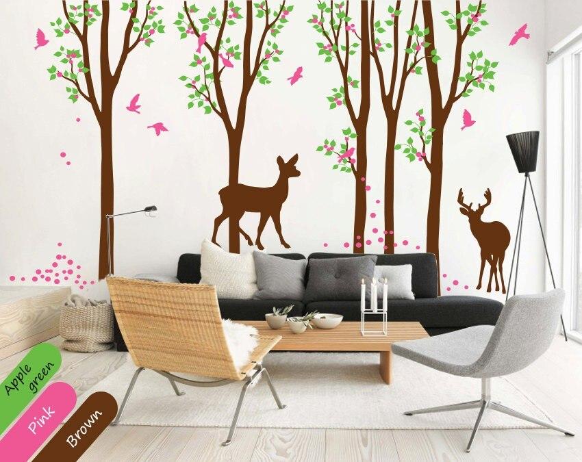 Amovible pépinière arbre Silhouette Art stickers muraux doux maison chambres décor vinyle peintures murales Dees Silhouttes papillons Wm-580