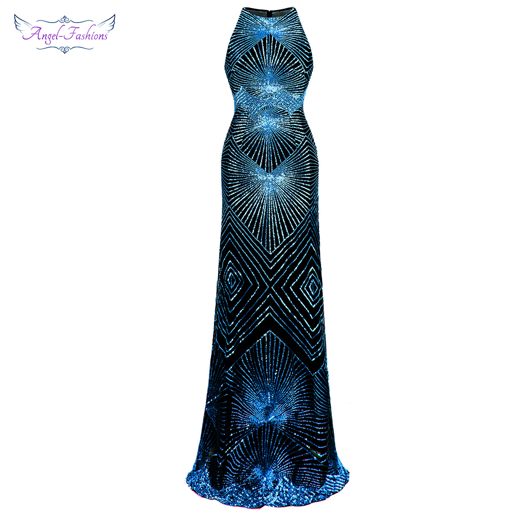 Angel-fashions Women's   Evening     Dress   Long Formal Gown See Through Art Deco Sequin Elegant Party New Gown 402