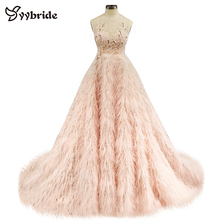 vestidos elegent dress 2019 Sexy O neck Sleeveless Evening Dress autumn Feather floor length Dress For Party Vestidos Formatura