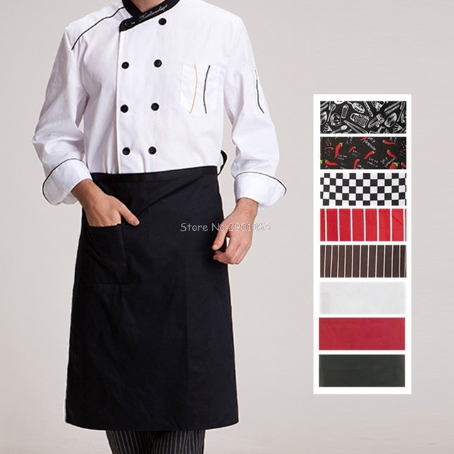 Kitchen Aprons Half Length Long Waist Apron Catering Chefs Waiters Uniform  New H06