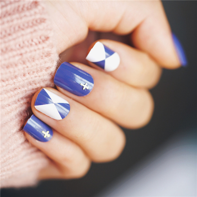 Aliexpress Buy 24pcs Cross Design False Nails Summer Blue