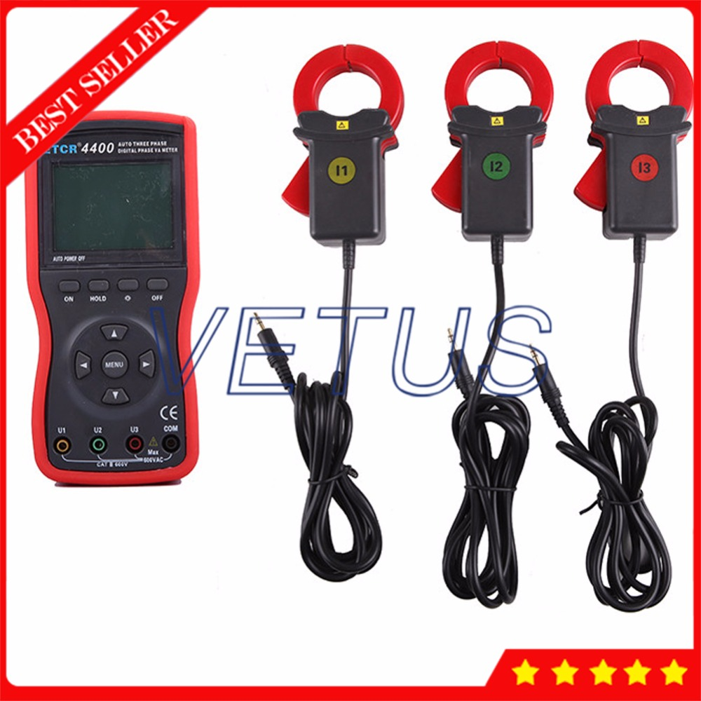 ETCR4400 0 360 degree Digital Three Phase Volt Ampere Meter with RS232 interface 500 groups Data