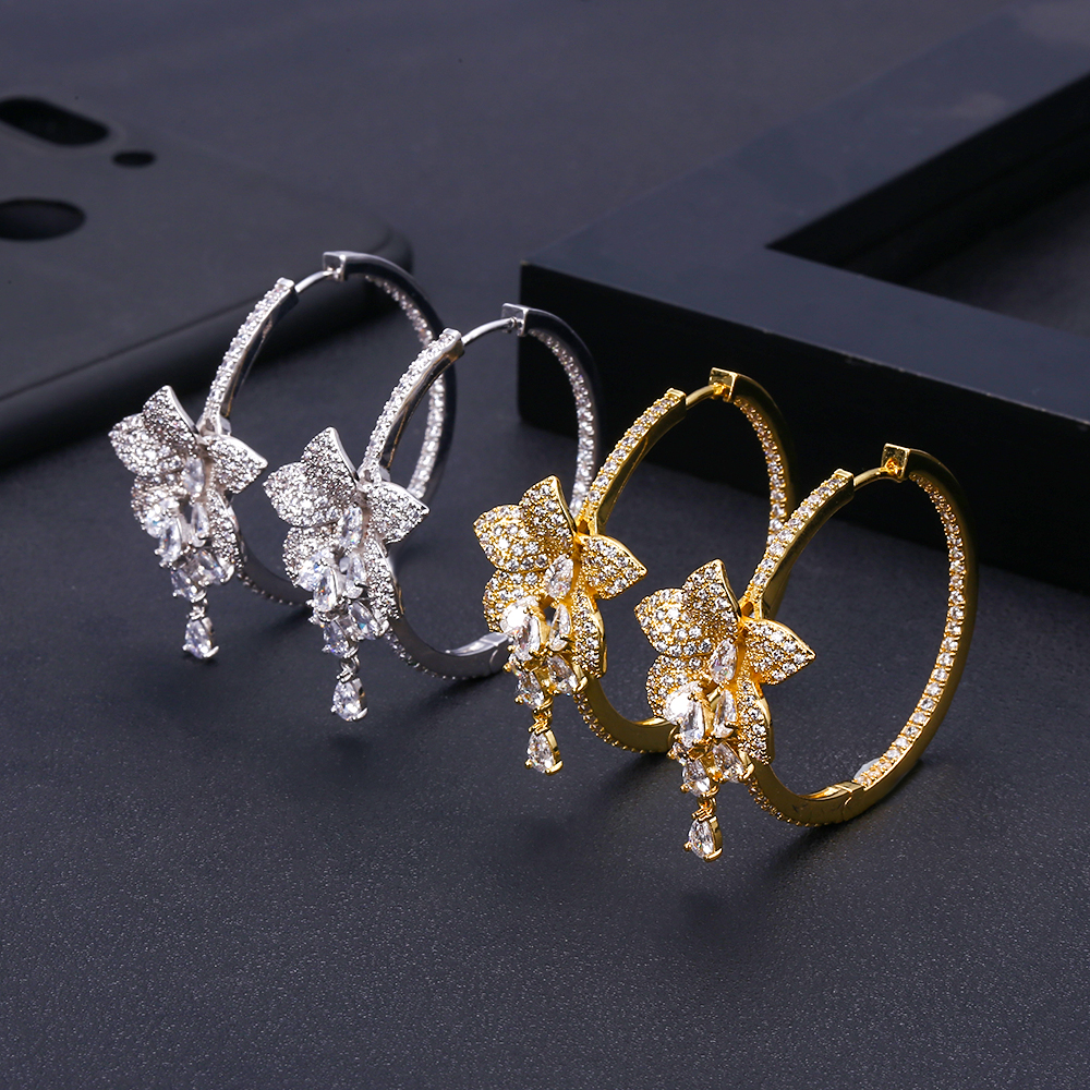 Janekelly Trendy Geometricwer Flower Hoop Earrings For Women Accessories Cubic Zirconia Earrings Jewelry Pendientes Mujer Moda
