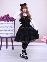Cotton Black Sleeveless Gothic Lolita Dress
