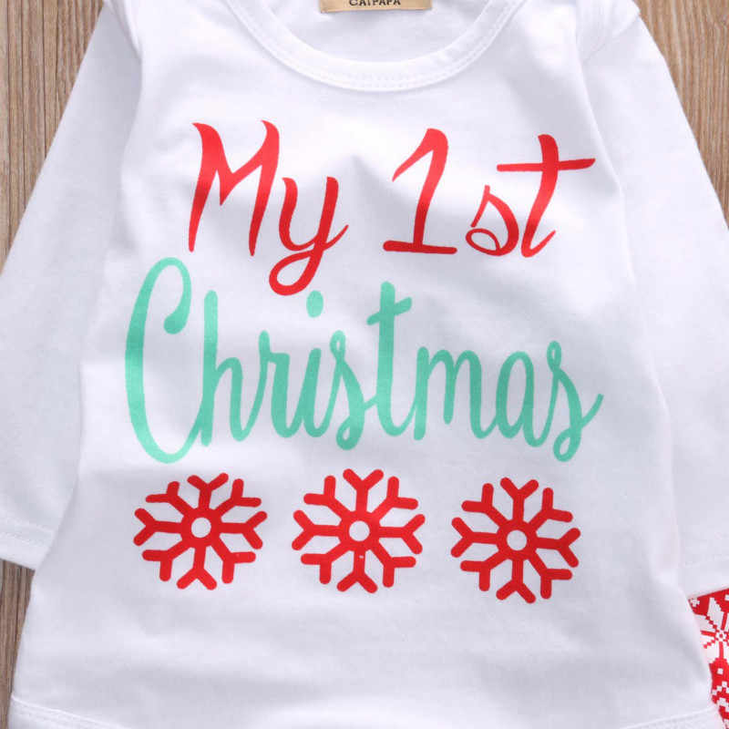 68410df21 ... Newborn Baby Boys Girls Tops Romper Pants Hat 3PCS Outfits Set  Christmas Clothes ...