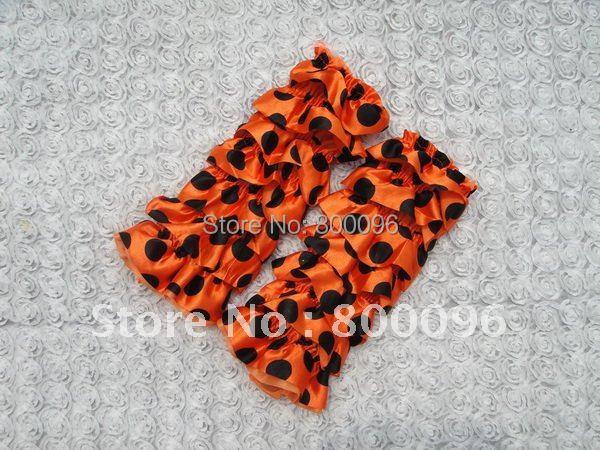 Hot Sale Baby Satin Leg WarmerS Orange Polka Dot Knee Baby Girls Halloween Costume Tights For Children KP-SL024