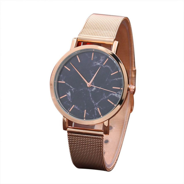 2019 Fashion Women Marble Watch Rose Gold Stainless Steel Band Quartz Movement W