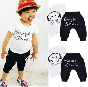 Boys Summer Cotton Clothes sets Smile Face Printed Cute T-shirts+ pants kids pajama clothing set Baby boys cotton clothes sets for children summer outfit kids camouflage t shirts
