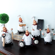 American Style Resin Chef Figurine Creative White Top Hat Cook Kitchen Decor  Home Crafts Gifts(