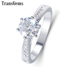 TransGems 1 Carat Lab Grown Moissanite Diamond Solitaire Anniversary Ring Solid 14K White Gold Women Engagement Wedding