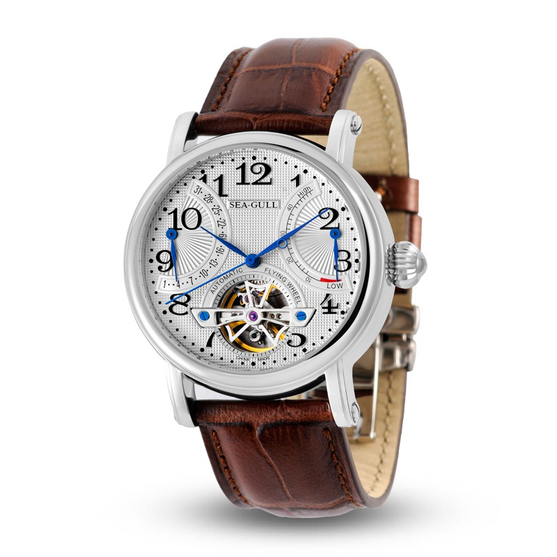 Leisure Automatic Mechanical Genuine Leather Waterproof Watch with Rome Digital Business for Various Occasions M172S Brown
