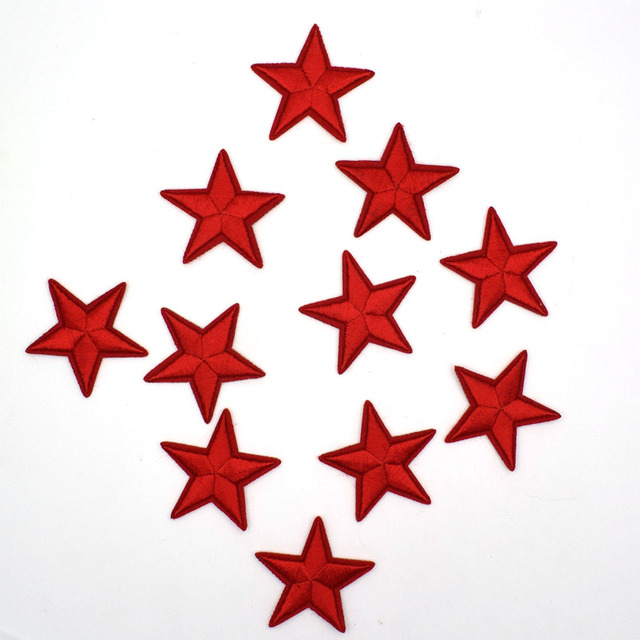 US $2 68  10Pcs Red Star Patches Military parches Backing Stickers  Embroidered Jacket Patch For Clothing Fabric Patchwork Biker Badge -in  Patches from