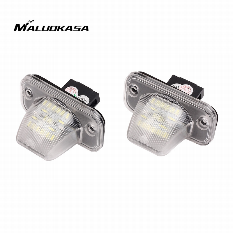 MALUOKASA 2x Error Free 18 SMD LED License Plate Light Number-plate Lamp Auto Turn Signal For VW Transporter T4 Passat 1990-2003 2x 24 smd led error free license plate light for bmw 1 series e82 e88 e39 e61n car light source