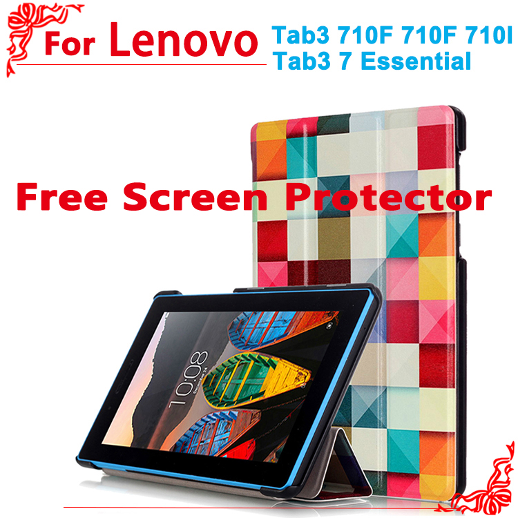Pu leather cover case For Lenovo Tab 3 7 essential tab 3 710F 710I 7.0tablet cases for lenovo 710f + free 2 Screen Protector funry uk standard wireless switch crystal glass panel 1 gang 1 way smart home remote control touch switch ac 110 250v
