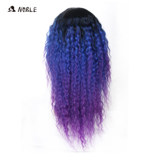 Image 4 - Noble Hair Lace Front Ombre Blonde Wig 26inch Long Curl Synthetic Wigs For Black Women 16 COLOUR Free Shipping