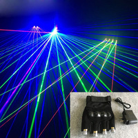 Red Green Blue Purple Light Laser Gloves Dancing Stage Show Stage Luminous Gloves with 4pcs Lasers For DJ Club Party Bars
