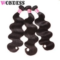 Wondess Hair 3 Bundle Deal Body Wave Indian Virgin Hair Natural Color Human Hair 8inch to 30inch Hair Extensions Free Shipping