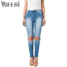 Yofeai отверстие джинсы 2017, женская обувь узкие эластичные джинсы для женщин Высокая Талия рваные джинсы модные женские джинсовые пикантные женские