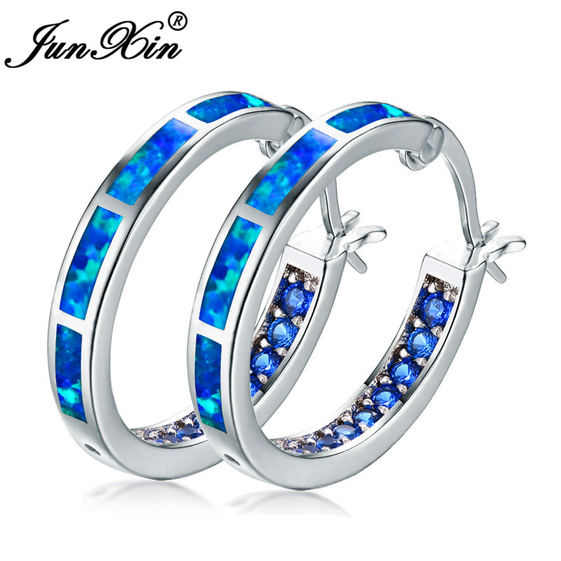 JUNXIN Round Blue Orange White Fire Opal Hoop Earrings For Women Big Circle Earrings With Rainbow Zircon Green Stone Hook Earing