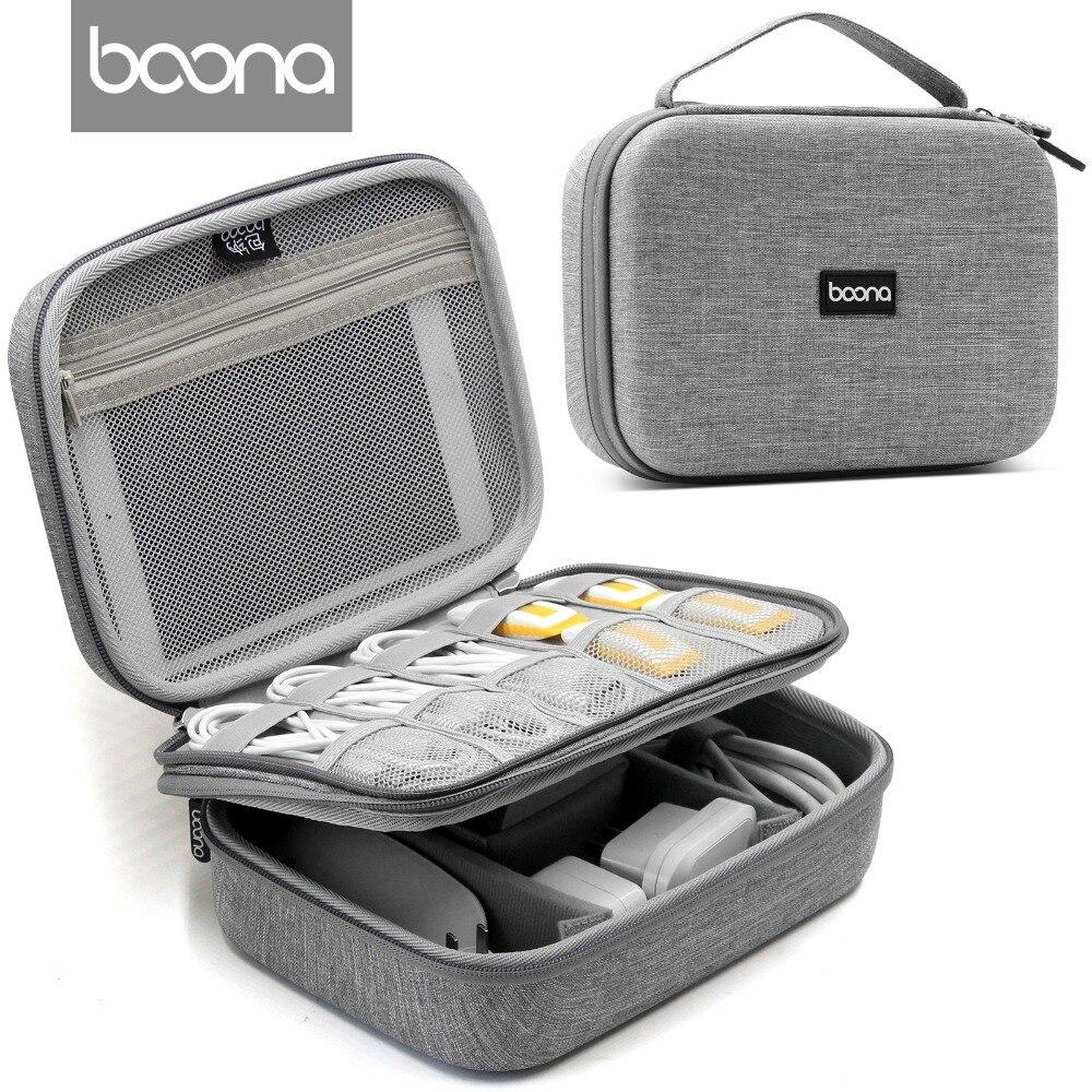 Boona EVA Oxford Fabric Waterproof iPad Organizer USB Data Cable Earphone Power Bank Travel Storaged font