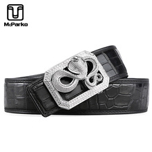 McParko Crocodile Leather Belt Men Waist Genuine Luxury Brand Snake Buckle Alligator Belts Elegant Gift For Husband
