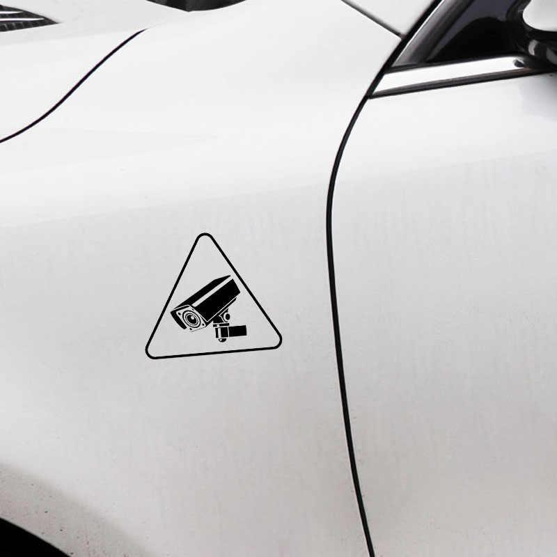 13.4*11.8 سنتيمتر الإبداعية CCTV تحذير تسجيل كاميرا أداة الفينيل ملصقات السيارات الأسود/الفضة دراجة نارية ملصق سيارة التصميم