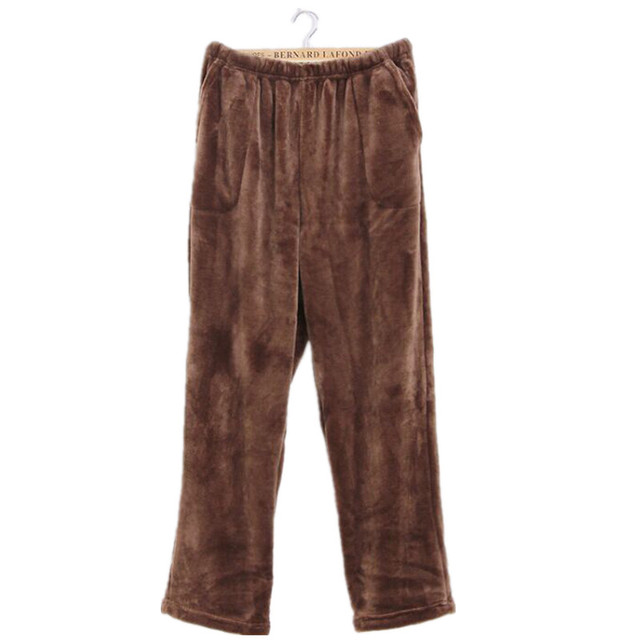 2016 Top Fashion Winter Flannel Solid Male Sleep Bottoms Thicken Velvet Pajamas Trousers Comfort Keep Warm Slacks Pants For Men