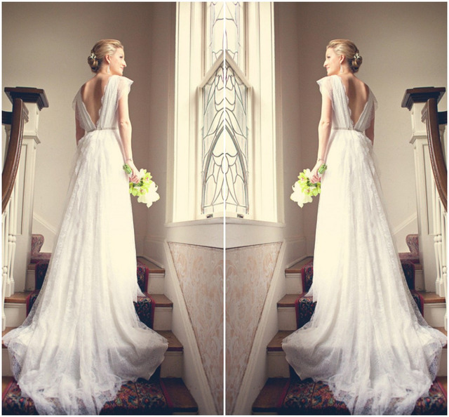 Long Romantic V Neck Cap Sleeve Lace Wedding Dresses Low Back Bridal ...