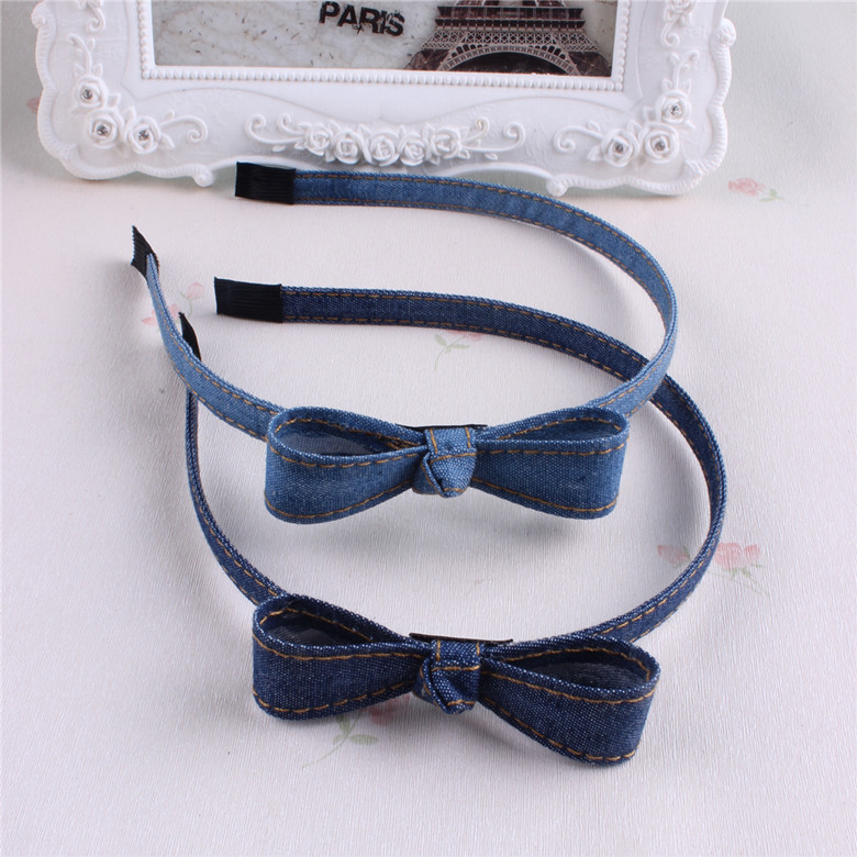 Hot Sale New Fashion Korean Jean Bowknot Hairbands Handmade Blue Denim Leisure Headbands Girls Women Barrette Hair Accessories 2017 new girls bowknot headbands korean style rabbit ears lady women fabric hairbands holders accessories fashion free shipping