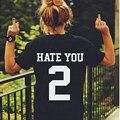 2017 Смешные футболки Женщины Ненавидят Вас 2 Печатных Футболку С Коротким Рукавом Хлопок Рубашка Для Леди Топы Тройники Hipster