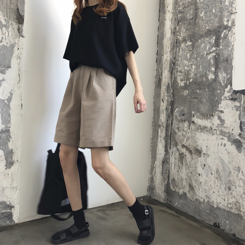 Hot Summer Vintage Cotton High Waist Knee Length Shorts Loose 2019 Shorts For Women Shorts Jeans Woman Black Khaki Large Size