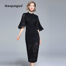 S-XXL Plus Size Black Wrap Dress Women O-neck Flare Sleeve Sheath Party Solid Hollow Out Vintage Elegant