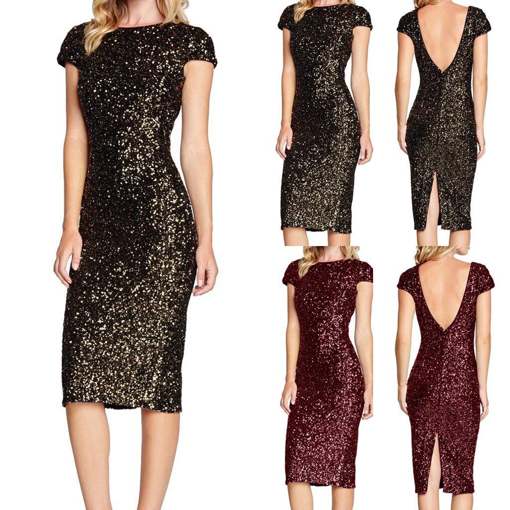 Женское блестящее платье с блестками, короткие рукава, черные вечерние, Клубные, облегающие платья, вечернее платье средней длины, женская о...