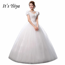Free Shipping Beading Bling Vintage Short Sleeves Wedding Dresses Cheap White Bridal Frocks Custom Made Vestidos De Novia MH38