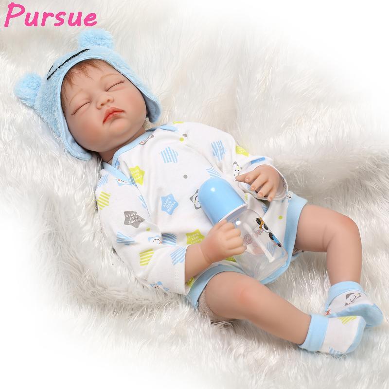 цена на Pursue Bebes Reborn 55 cm American Girl Doll Silicone Reborn Babies Dolls for Girls Boys Baby Doll Alive boneca reborn silicone