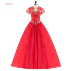 Quinceanera vermelho vestidos de baile querida tule frisado cristais com jaqueta baratos doce 16 vestidos