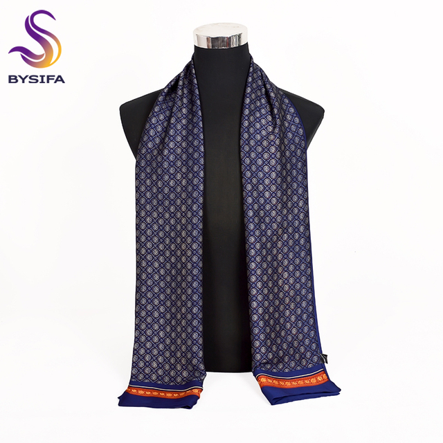 [BYSIFA] 2018 New Brand Men Scarves Autumn Winter Fashion Male Warm Navy Blue Long Silk Scarf Cravat High Quality Scarf 170*30cm 1