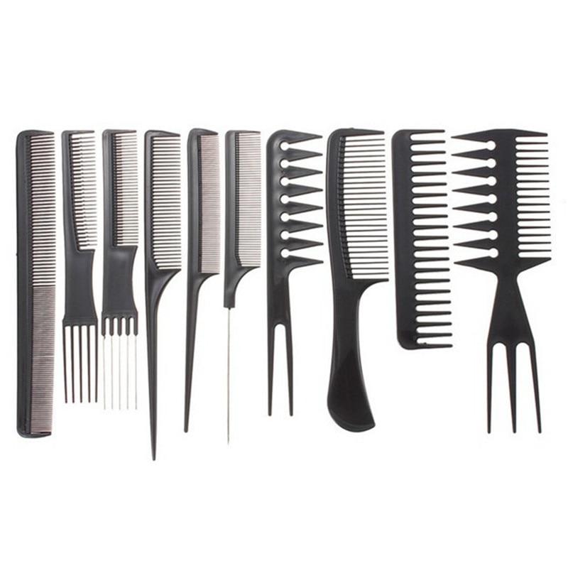 10PCS Professional Salon Hair Combs Kits Barber Cutting Comb Brushes Anti-static Hairbrush Hair Care Styling Tool Set Kit Black