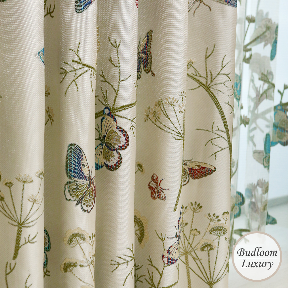 Butterfly Jacquard Luxury Curtains For Living Room Blackout Window Drapes For Bedroom High Quality Ready Made Panels