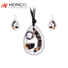 HONGYE Women Fashion Statement Big Water Drop Jewelry Sets Leopard Print Resin Multilayer Necklace & Earrings Dangling Pendant(China)