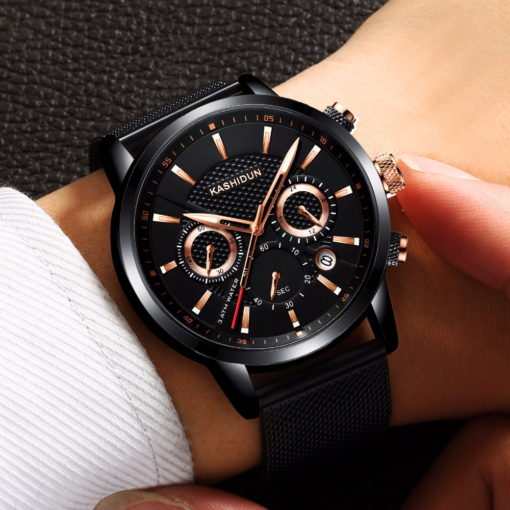 KASHIDUN Luxury Brand Mens Sports Watches Waterproof Military Watch Men Fashion Casual Quartz Wristwatches Mesh Alloy