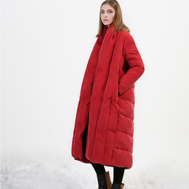 New Loose Fit Thick Warm Womens   Down     Coat   Cloak Puffer Solid Long   Down   Jacket Female Brand High Quality Ultra Light Outerwear