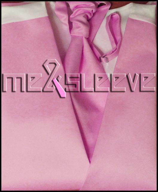 Hot sale frete grátis simples rosa chá comprimento smoking (colete + lenço + gravata abotoaduras + lenço)