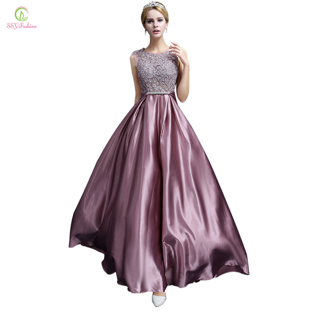 Long Evening Dress 2017 Ssyfashion Luxury Lace Satin