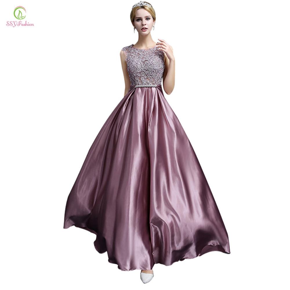 Long Evening Dress 2017 SSYFashion Luxury Lace Satin ...