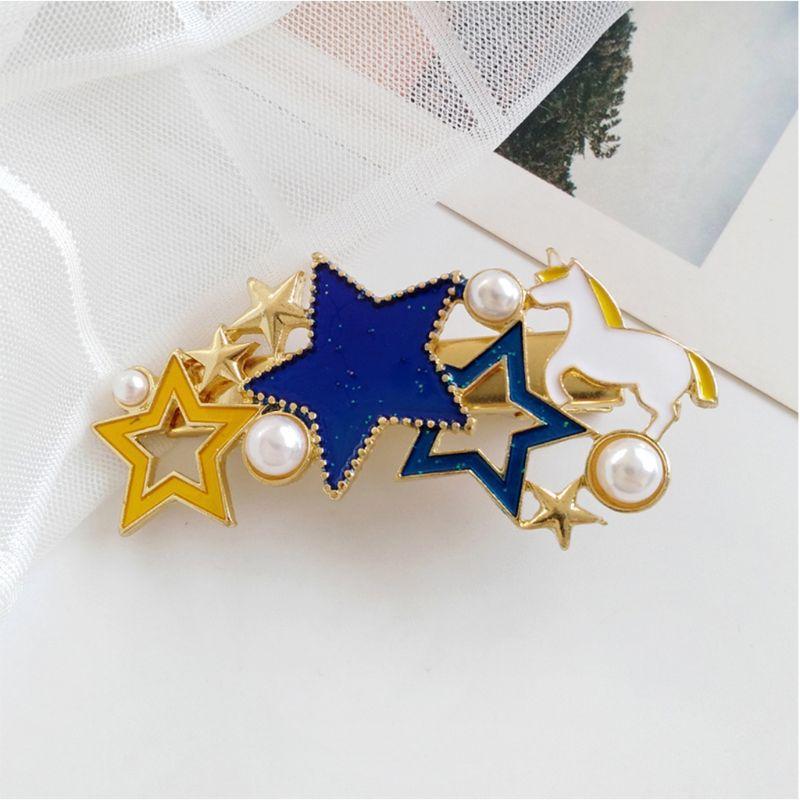 Minimalist Metallic Duckbill Hair Clip Women Girls Colored Oil Drop Pentagram Star Horse Charms Hairpin Imitation Pearl Barrette in Women 39 s Hair Accessories from Apparel Accessories